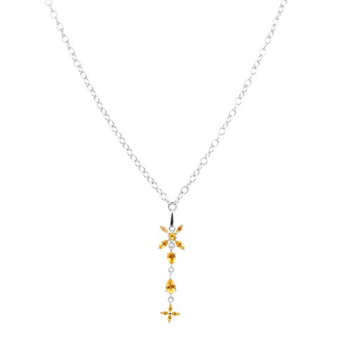 Orchid Jewelry Solid Sterling Silver 2 1/6 Carat Citrine Fashion Necklace