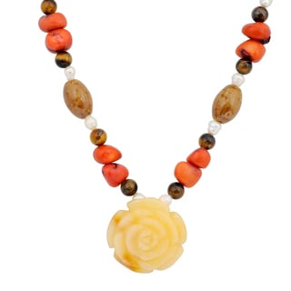 Orchid Jewelry Solid Sterling Silver Tiger Eye, Pearl, Honey Jade, Coral, Green Dot Jasper Beaded Necklace