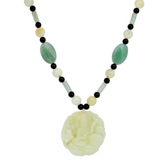 Orchid Jewelry Solid Sterling Silver Green Jade, Black Onyx, Green Aventurine Beaded Necklace