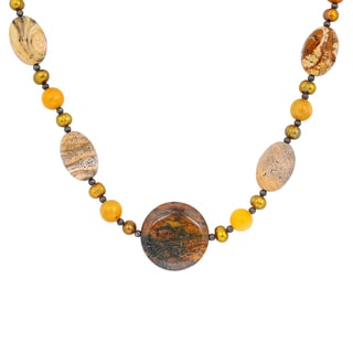 Orchid Jewelry Solid Sterling Silver Picture Jasper, Honey Jade, Jasper, White Agate Beaded Necklace