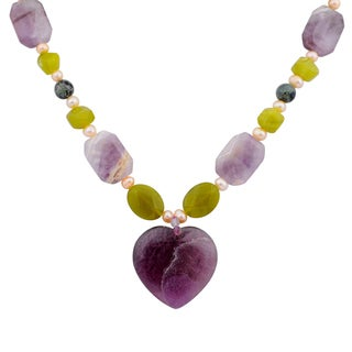 Orchid Jewelry Solid Sterling Silver Amethyst, Pearl, Lemon Agate Beaded Necklace