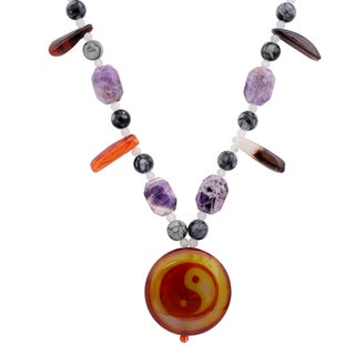 Orchid Jewelry Solid Sterling Silver Amethyst, Agate, Carnelian Beaded Necklace