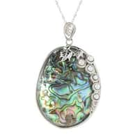 Sterling Silver Abalone and Cultured Pearl Pendant with 18 inch Chain