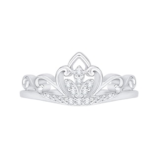 14K White Gold 1/10ct TDW Diamond Crown Ring (G-H, I2-I3)