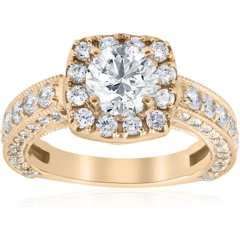 14K Yellow Gold 2 1/3 ct TDW Diamond Clarity Enhanced Vintage Cushion Halo Engagement Antique Style Ring (I-J,I2-I3)
