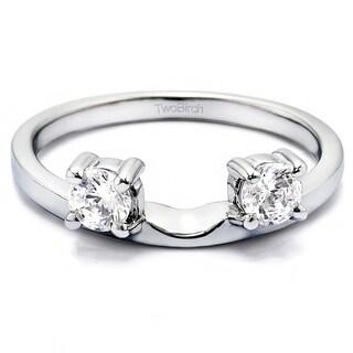 10k White Gold Three Stone Round Prong Set Ring Wrap Enhancer With Diamonds (G-H,I2-I3) (0.34 Cts., G-H, I2-I3)