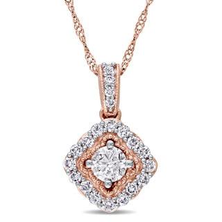 Miadora Signature Collection 14k Rose Gold 1/2ct TDW Diamond Halo Dangle Necklace