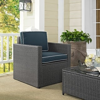 Palm Harbor Outdoor Arm Chair in Grey Wicker with Navy Cushions