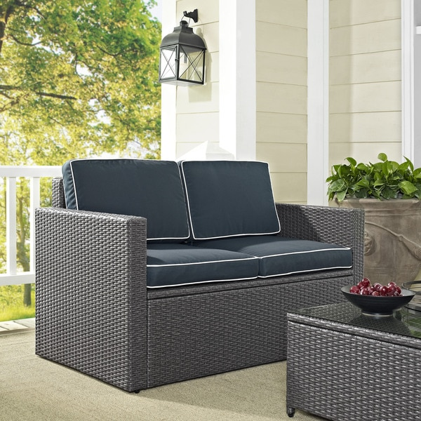 Shop Palm Harbor Outdoor Loveseat In Grey Wicker With Navy