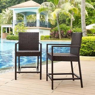Palm Harbor Wicker Outdoor Counter Bistro Stools (Set of 2)