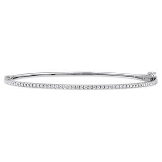 Miadora Signature Collection 14k White Gold 1/2ct TDW Diamond Eternity Bangle