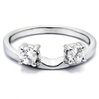Platinum Three Stone Round Prong Set Ring Wrap Enhancer With Diamonds (G-H,SI2-I1) (0.34 Cts., G-H, SI1-SI2)