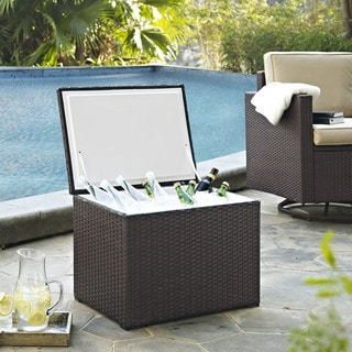 Palm Harbor Outdoor Brown Resin Wicker and Steel Cooler