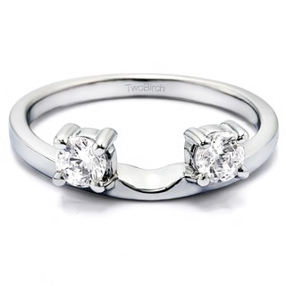 Sterling Silver Three Stone Round Prong Set Ring Wrap Enhancer With Cubic Zirconia (0.14 Cts.)