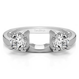 Sterling Silver Three Stone Round Prong Set Ring Wrap Enhancer With Cubic Zirconia (0.75 Cts.)