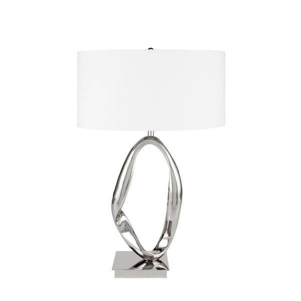 Finesse Decor Silver Chrome Circle Table Lamp with 3 Brightness Settings