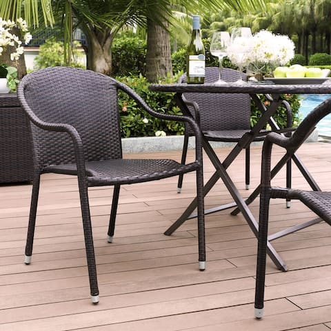 Palm Harbor Outdoor Wicker Stackable Chairs - Set of 4 Brown