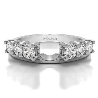 10k White Gold Double Shared Prong Graduated Six Stone Ring Wrap With Diamonds (G-H,SI2-I1) (0.75 Cts., G-H, SI2-I1)