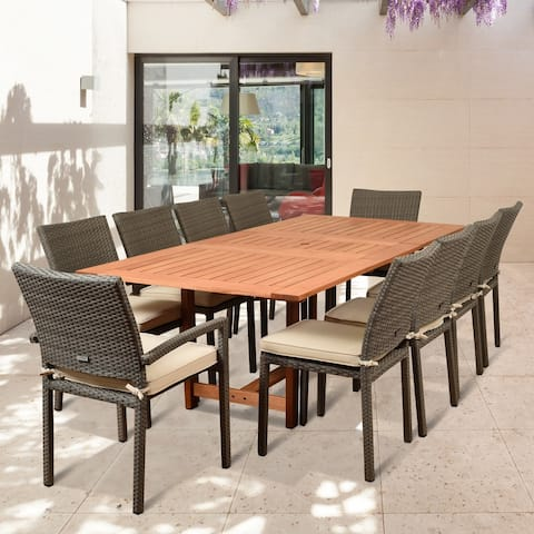 Popham 11-piece Grey Patio Dining Set with Off-white Cushions by Havenside Home