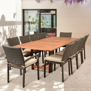 Havenside Home Popham 11-piece Patio Dining Set Grey with Off-white Cushions