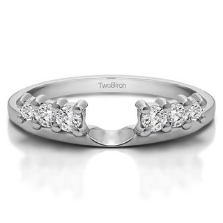10k White Gold Double Shared Prong Graduated Six Stone Ring Wrap With White Sapphire (0.25 Cts., Colorless)