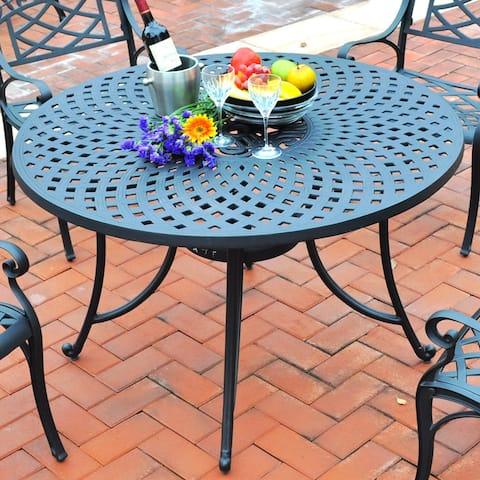 Sedona Charcoal Black Cast Aluminum 46-inch Dining Table
