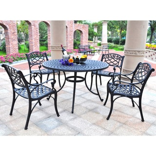 "Sedona 46"" Five Piece Cast Aluminum Outdoor Dining Set with Arm Chairs in Black Finish"