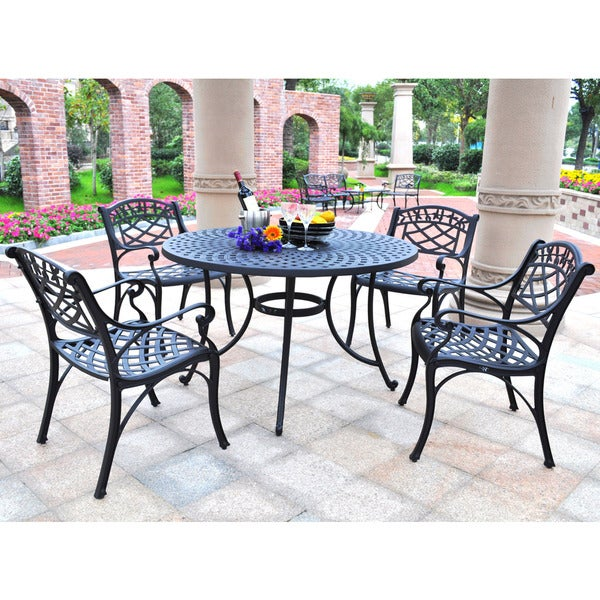 """Sedona 46"""" Five Piece Cast Aluminum Outdoor Dining Set with Arm Chairs in Black Finish"""