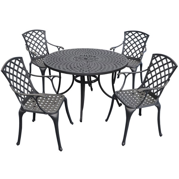 Shop Sedona 46 Five Piece Cast Aluminum Outdoor Dining Set With