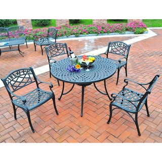 """Sedona 42"""" Five Piece Cast Aluminum Outdoor Dining Set with Arm Chairs in Black Finish"""