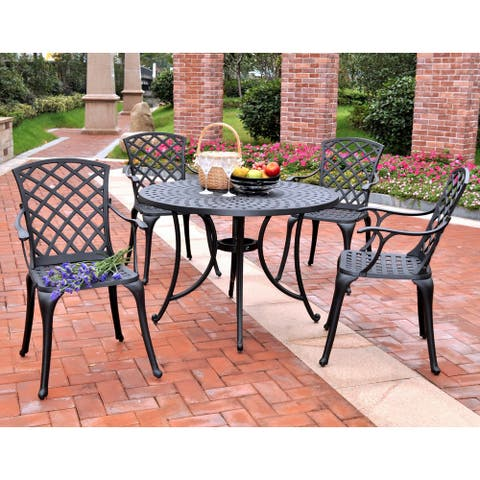 """Sedona 42"""" Five Piece Cast Aluminum Outdoor Dining Set with High Back Arm Chairs in Black Finish"""