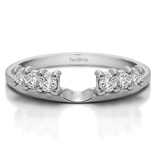 Sterling Silver Double Shared Prong Graduated Six Stone Ring Wrap With Cubic Zirconia 0 25 Cts