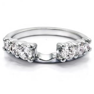 Sterling Silver Double Shared Prong Graduated Six Stone Ring Wrap With Cubic Zirconia (0.5 Cts.)