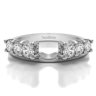 Sterling Silver Double Shared Prong Graduated Six Stone Ring Wrap With Cubic Zirconia (0.75 Cts.)