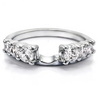 Sterling Silver Double Shared Prong Graduated Six Stone Ring Wrap With Cubic Zirconia (1 Cts.)