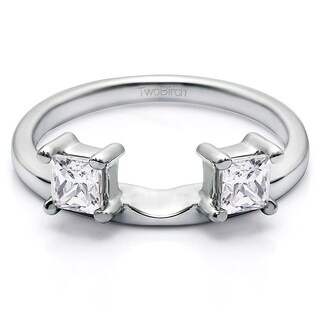 10k White Gold Three Stone Princess Cut Ring Wrap Enhancer With Cubic Zirconia (0.25 Cts.)