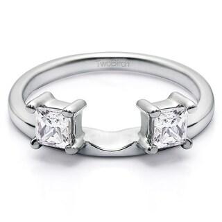 10k White Gold Three Stone Princess Cut Ring Wrap Enhancer With Diamonds (G-H,SI2-I1) (0.25 Cts., G-H, SI2-I1)