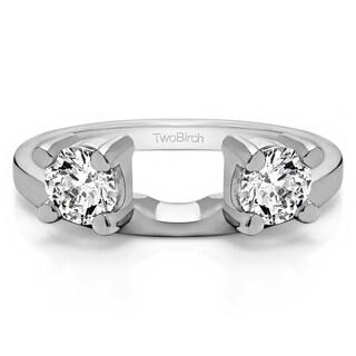 10k White Gold Three Stone Round Prong Set Ring Wrap Enhancer With Diamonds (G-H,I2-I3) (0.8 Cts., G-H, I2-I3)