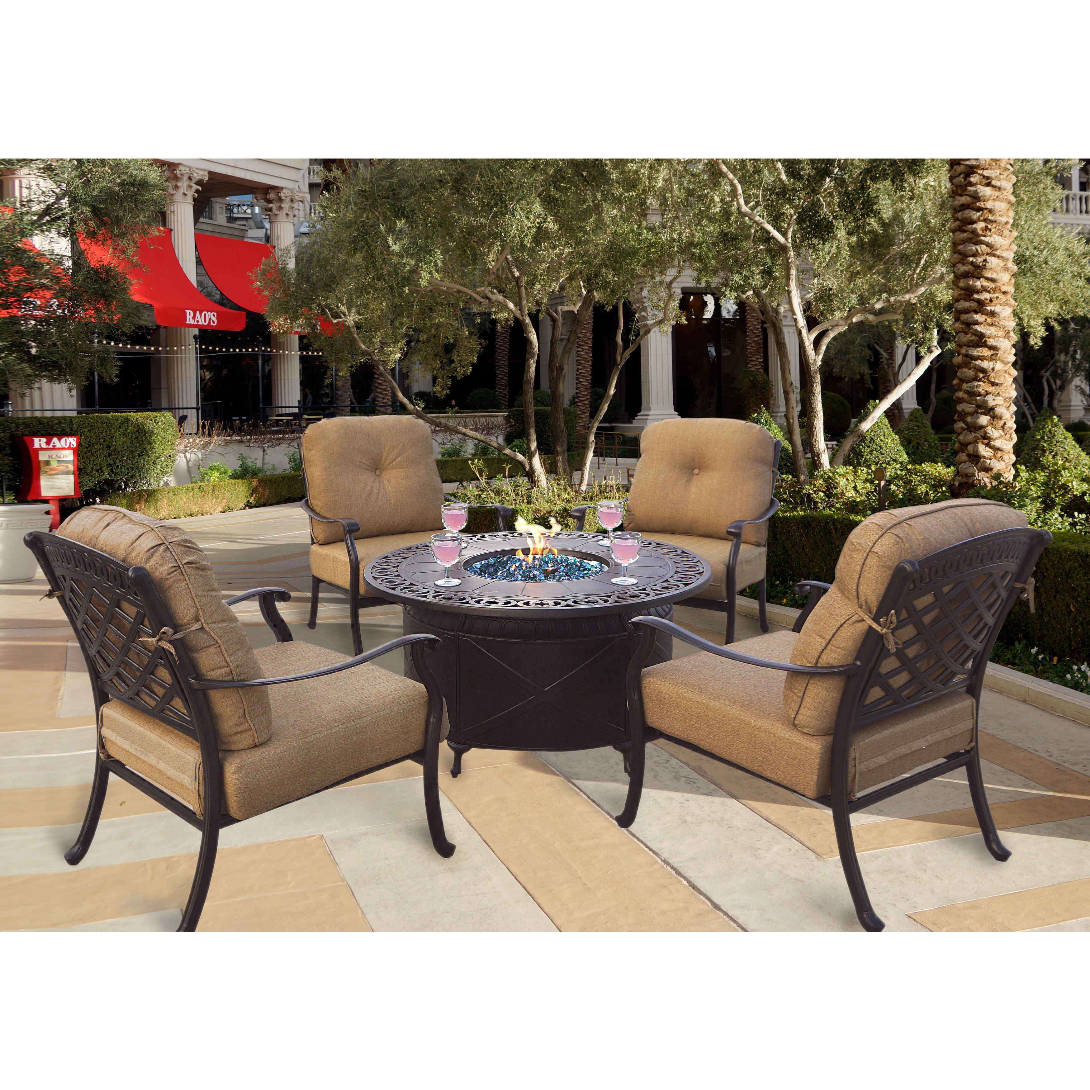 a9337fe42ca0 Darlee Oceanside Cast Aluminum 5-Piece Chat Set, 47'' Round Propane Fire  Pit Chat Table