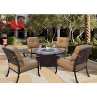 Darlee Oceanside Cast Aluminum 5-Piece Chat Set, 47'' Round Propane Fire Pit Chat Table