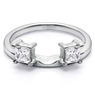 10k White Gold Three Stone Princess Cut Ring Wrap Enhancer With Diamonds (G-H,I1-I2) (0.25 Cts., G-H, I1-I2)