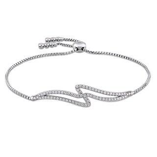Miadora Signature Collection 14k White Gold 2/5ct TDW Diamond Swirl Bolo Bracelet (G-H, SI1-SI2)