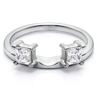 14k White Gold Three Stone Princess Cut Ring Wrap Enhancer With Cubic Zirconia (0.25 Cts.)