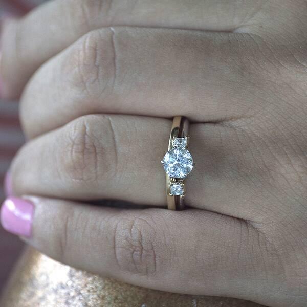 Shop 14k White Gold Three Stone Princess Cut Ring Wrap Enhancer
