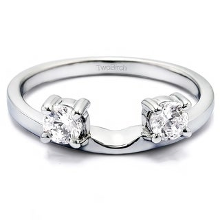 10k White Gold Three Stone Round Prong Set Ring Wrap Enhancer With White Sapphire (0.1 Cts., colorless)