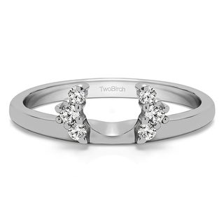 Platinum Half Round Halo Ring Wrap With Diamonds (G-H,SI2-I1) (0.13 Cts., G-H, SI1-SI2)