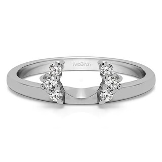 Sterling Silver Half Round Halo Ring Wrap With Cubic Zirconia (0.13 Cts.)