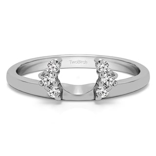 18k White Gold Half Round Halo Ring Wrap With Diamonds (G-H,SI2-I1) (0.13 Cts., G-H, SI2-I1)