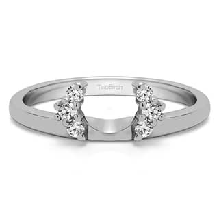 sterling silver half round halo ring wrap with white sapphire 013 cts colorless - Wedding Ring Wrap