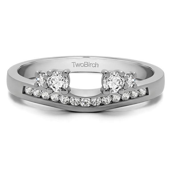 Shop 10k White Gold Solitaire Anniversary Ring Wrap Enhancer With